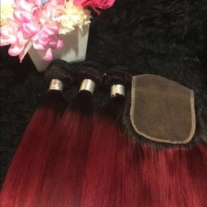 Hair bundles with closure custom color